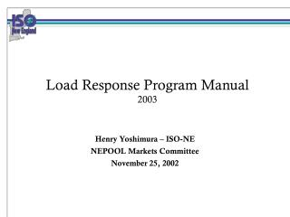 Load Response Program Manual 2003