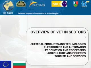 OVERVIEW OF VET IN SECTORS  : CHEMICAL PRODUCTS AND TECHNOLOGIES  ELECTRONICS AND AUTOMATION