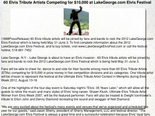 60 Elvis Tribute Artists Competing for $10,000 at LakeGeorge