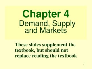 Chapter 4 Demand, Supply and Markets