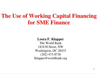 Trade Credit is Often Extended by  Small and Medium Sized Firms (SMEs):