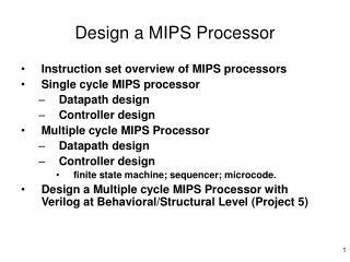 Design a MIPS Processor