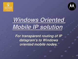 Windows Oriented Mobile IP solution