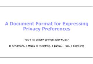 A Document Format for Expressing Privacy Preferences