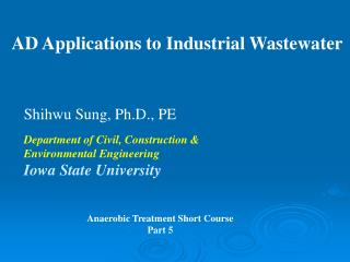 AD Applications to Industrial Wastewater