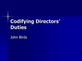 Codifying Directors' Duties