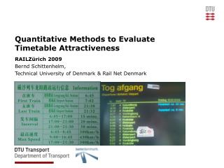 Quantitative Methods to Evaluate Timetable Attractiveness
