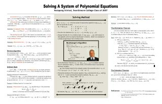 Solving A System of Polynomial Equations
