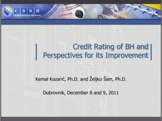 Credit Rating of BH and  Perspectives for its Improvement
