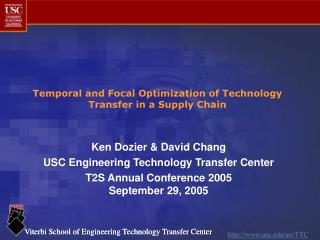 Temporal and Focal Optimization of Technology Transfer in a Supply Chain