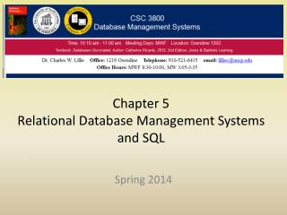 Chapter 5 Relational Database Management Systems and SQL