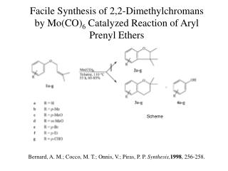 Facile Synthesis of 2,2-Dimethylchromans by Mo(CO) 6  Catalyzed Reaction of Aryl Prenyl Ethers