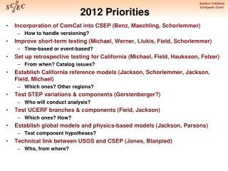2012 Priorities