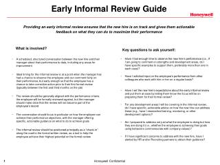 Early Informal Review Guide