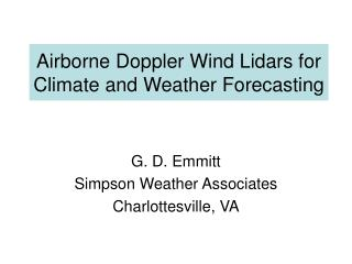 Airborne Doppler Wind Lidars for Climate and Weather Forecasting