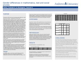 Gender differences in mathematics, test and social anxiety This title is in 90 pt Verdana.