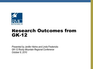 Research Outcomes from  GK-12