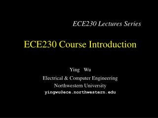 ECE230 Course Introduction
