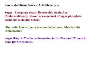 Forces stabilizing Nucleic Acid Structures