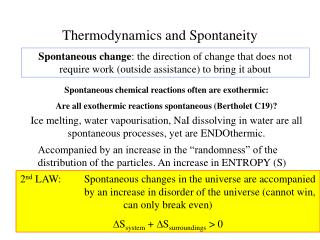 Thermodynamics and Spontaneity