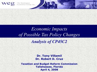 Economic Impacts  of Possible Tax Policy Changes