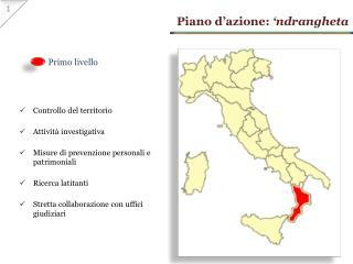 Piano d'azione:  ' ndrangheta
