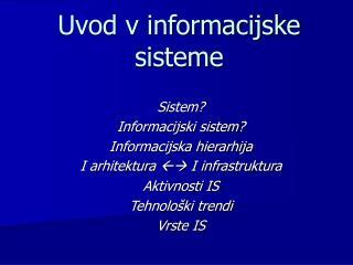 Uvod v informacijske sisteme