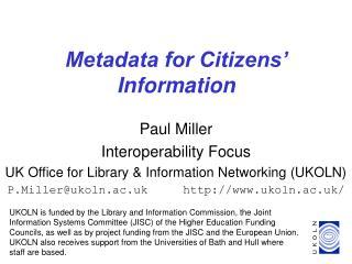 Metadata for Citizens' Information