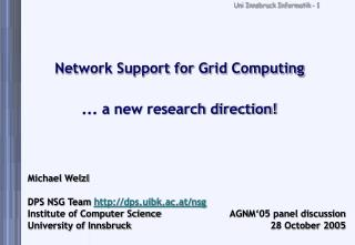 Network Support for Grid Computing ... a new research direction!