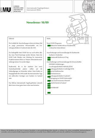 Newsletter 10/09