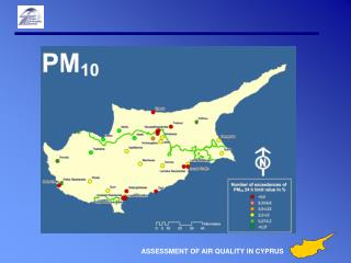 Air quality map of Cyprus for PM 10  exceedances of EU 24h Limit Value (50 µg/m³ )