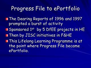 Progress File to ePortfolio