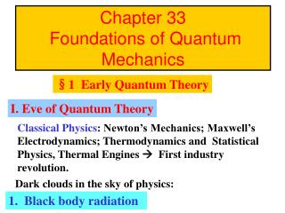 Chapter 33     Foundations of Quantum Mechanics