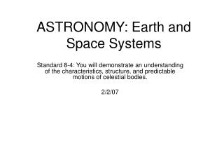 ASTRONOMY: Earth and Space Systems