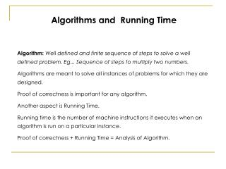 Algorithms and  Running Time