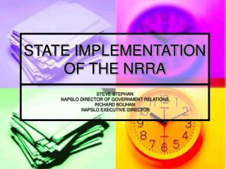 STATE IMPLEMENTATION OF THE NRRA