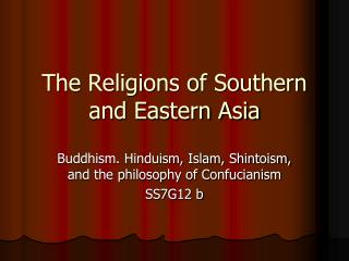 The Religions of Southern and Eastern Asia