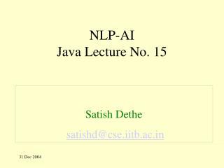 NLP-AI Java Lecture No. 15