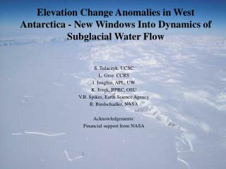 Elevation Change Anomalies in West Antarctica - New Windows Into Dynamics of Subglacial Water Flow
