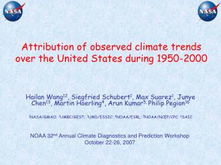 Attribution of observed climate trends  over the United States during 1950-2000