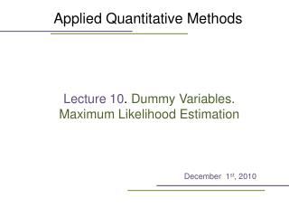 Applied Quantitative Methods