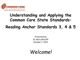 Understanding and Applying the Common Core State Standards: Reading Anchor Standards 3, 4 & 5