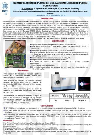 CUANTIFICACIÓN DE PLOMO EN SOLDADURAS LIBRES DE PLOMO  POR ICP-OES