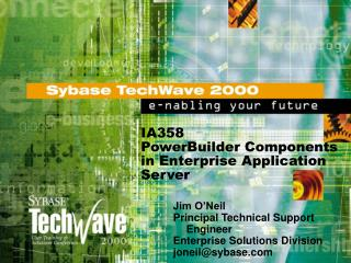 IA358 PowerBuilder Components in Enterprise Application Server