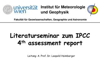 Literaturseminar zum IPCC 4 th  assessment report