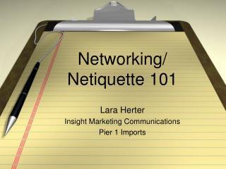 Networking/ Netiquette 101