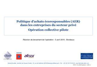Politique d'achats écoresponsables (AER)  dans les entreprises du secteur privé