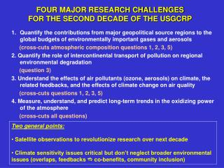 FOUR MAJOR RESEARCH CHALLENGES FOR THE SECOND DECADE OF THE USGCRP
