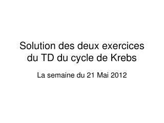 Solution des deux exercices du TD du cycle de Krebs