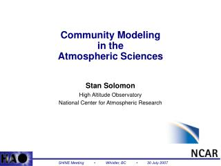 Community Modeling in the Atmospheric Sciences